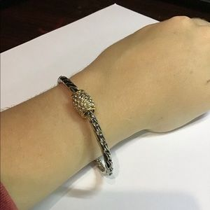Silver chain bracelet with gold clasp new